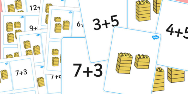 Building Brick Addition Matching Cards - numeracy, maths, toys
