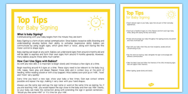 Top Tips for Baby Signing Guide