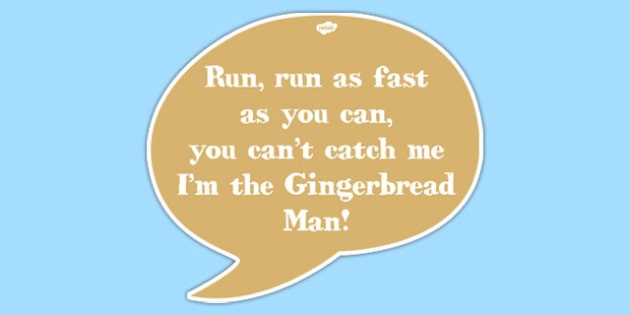 Gingerbread Man Quote Cut-out Speech Bubble - gingerbread man, quote