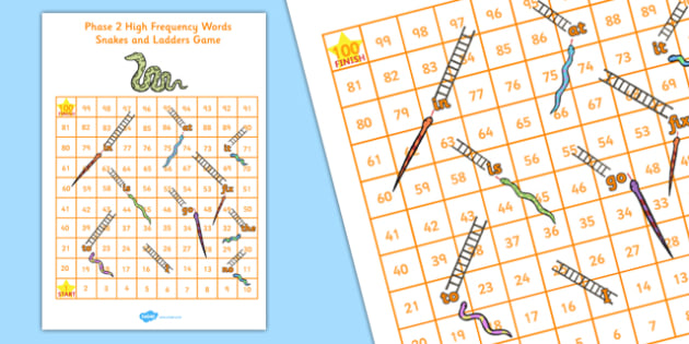 Phase 2 High Frequency Words Snakes and Ladders - phase 2, high frequency, snakes and ladders, snakes, ladders