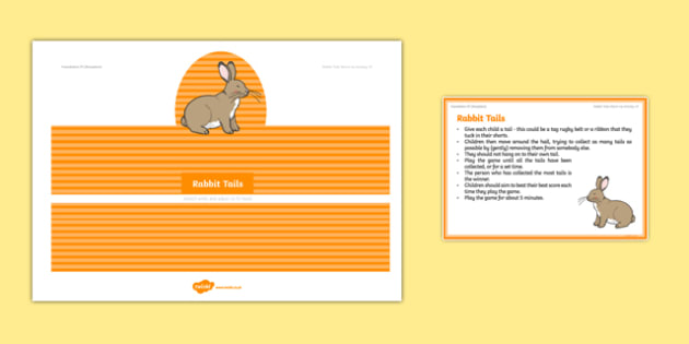 Foundation PE (Reception) Rabbit Tails Warm-Up Activity Card - physical activity, foundation stage, physical development, games, dance, gymnastics