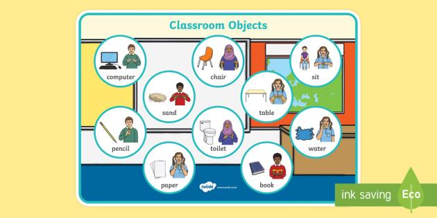BSL Classroom Objects Word Mat