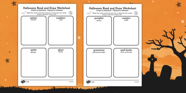 Halloween Read and Draw Worksheet Romanian Translation - romanian, halloween, hallowe'en, read, draw