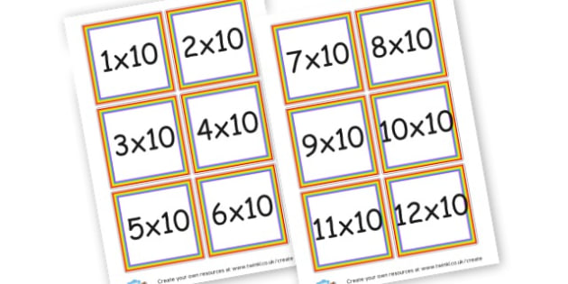 10 Times Tables Questions Cards - Times Tables Primary Resources, multiply, times, number of, games, Times, Table, Tabe
