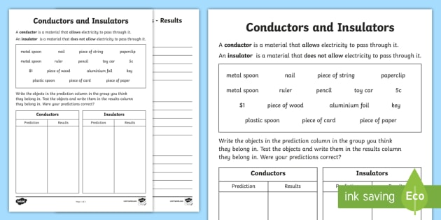 Conductors and Insulators Activity Sheet - conductors, insulators, electricity, circuits, science Year 6, grade six, physical science Australia