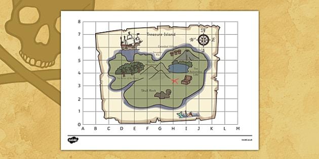 Pirate Treasure Map - pirate, pirates, ship, sea, treasure, treasure map, map, boat, island