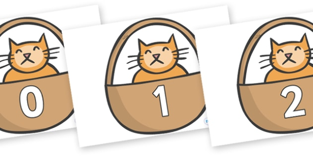 Numbers 0-50 on Hamish in Basket to Support Teaching on The Lighthouse Keeper's Lunch - 0-50, foundation stage numeracy, Number recognition, Number flashcards, counting, number frieze, Display numbers, number posters