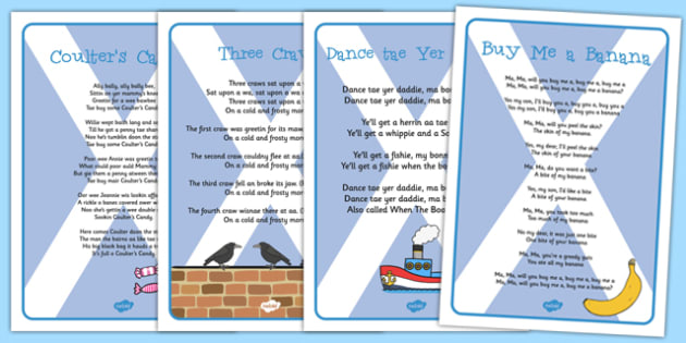 Scots Songs - cfe, curriculum for excellence, Literacy, Scots Language, scots, language, songs
