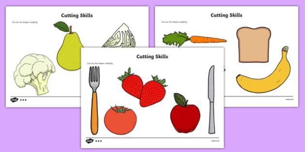 Healthy Food Themed Cutting Skills Sheets - healthy food, cutting skills, cut, skill