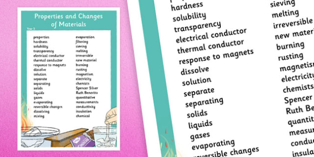 Year 5 Properties and Changes of Materials Vocabulary Poster