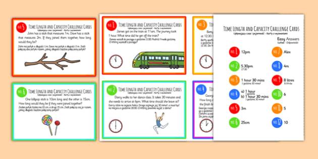 Time, Length and Capacity Problem Solving Challenge Cards Polish Translation - polish, time, length, capacity, problem solving, challenge cards