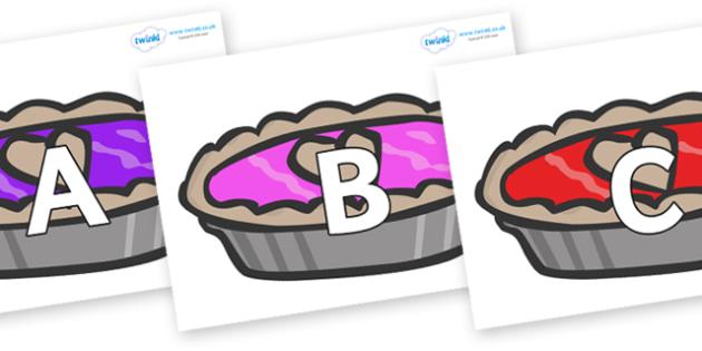 A-Z Alphabet on Jam Tarts - A-Z, A4, display, Alphabet frieze, Display letters, Letter posters, A-Z letters, Alphabet flashcards