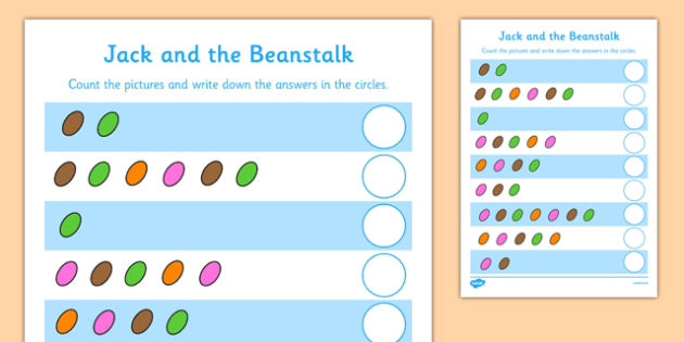 Jack and the Beanstalk Magic Bean Counting Sheet - jack and the beanstalk, magic bean, counting, worksheet, counting sheet, themed worksheet, numbers