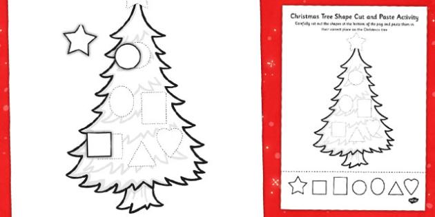 Christmas Tree Shape Cut and Paste Activity - christmas, shape