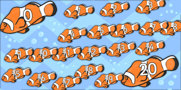Numbers 0-20 on Clown Fish (Under the Sea) -  Under the sea, Foundation Numeracy, Number recognition, Number flashcards, counting, sea, seaside, display, posters, water, tide, fish, sea creatures, shark, whale, marine, dolphin, starfish, waves, sand