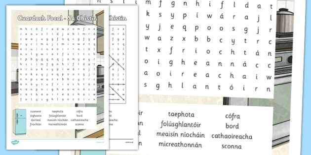 Irish Gaeilge Sa Chistin Word Search - sa braille, home, house, word search, activity, sheets, spellings