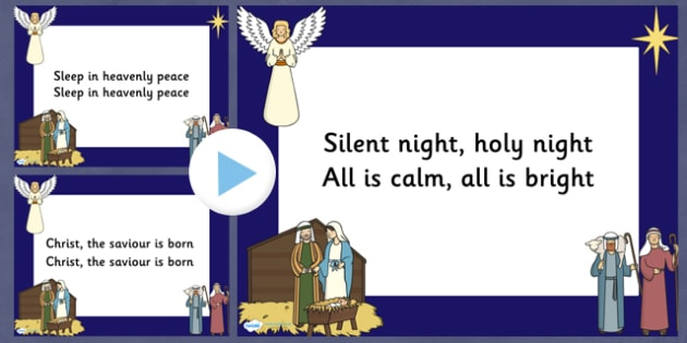 Silent Night Christmas Carol Lyrics PowerPoint - silent night, christmas, christmas carol, lyrics powerpoint, christmas songs, sing-a-long, sing along