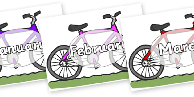 Months of the Year on Bikes - Months of the Year, Months poster, Months display, display, poster, frieze, Months, month, January, February, March, April, May, June, July, August, September