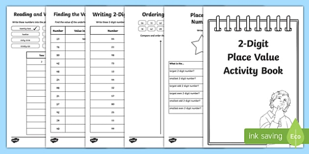 Place Value 2 Digit Numbers Activity Booklet - place value, 2 digit, number, numbers, activity, booklet