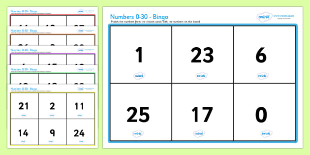 Numbers 0 30 Bingo - bingo, lotto, number games, math, counting