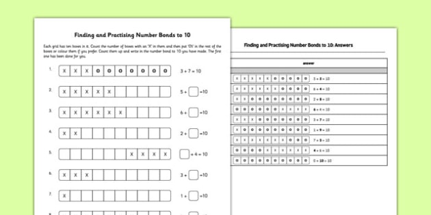 Finding and Practising Number Bonds to 10 - finding, practising, number bonds, 10