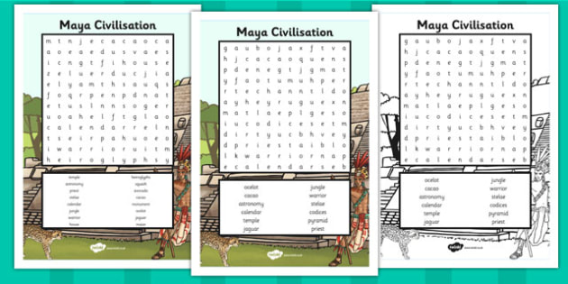 Maya Civilisation Wordsearch - wordsearch, mayan, maya, history