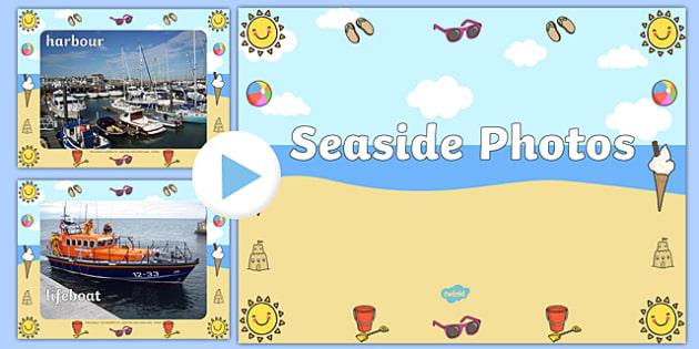 Seaside Display Photo PowerPoint - seaside, the seaside, at the seaside, beach, seaside powerpoint, seaside photo powerpoint, seaside photos, beach photos