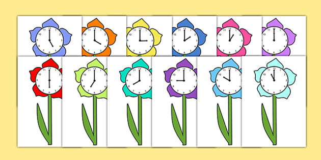 O'Clock Hour Times on Flowers - time, hour, flower, clock, oclock