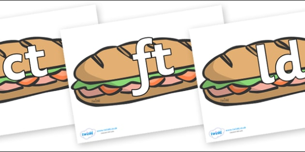 Final Letter Blends on Sandwiches - Final Letters, final letter, letter blend, letter blends, consonant, consonants, digraph, trigraph, literacy, alphabet, letters, foundation stage literacy