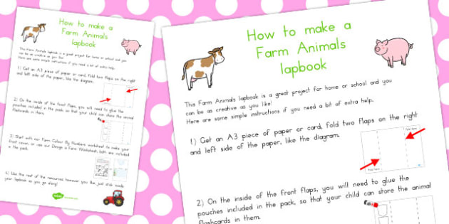 Farm Animals Lapbook Instructions Sheet - Farm, Animals, Animal