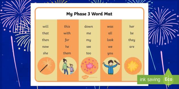 Bonfire Night Phase 3 Word Mat