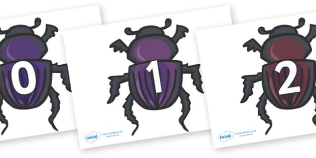 Numbers 0-50 on Egyptian Beetles (Scarab) - 0-50, foundation stage numeracy, Number recognition, Number flashcards, counting, number frieze, Display numbers, number posters