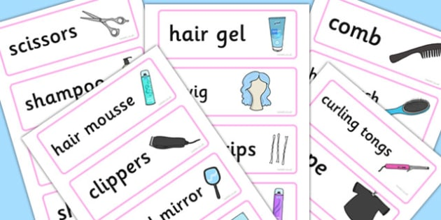 Hairdressers Role Play Word Cards - Hairdresser Role Play, Word cards, Word Card, flashcard, flashcards, salon role play, hairdresser resources, salon resources, hairdryer, hairdresser, stylist, customer, hairstyle, role play, display, poster