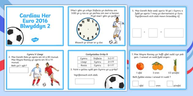 Cardiau Her Euro 2016 Blwyddyn 2 Challenge Cards-Welsh
