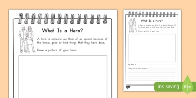 my hero writing activity sheet worksheet. Black Bedroom Furniture Sets. Home Design Ideas