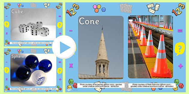 3D Shape Photo PowerPoint - powerpoint, power point, interactive, powerpoint presentation, 3D shapes, shape recognition, numeracy, presentation, slide show, slides, discussion aid, discussion points
