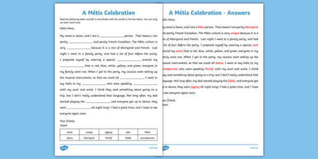 Métis Cloze Activity - canada, metis, cloze activity, cloze, activity, aboriginal, canadian, Métis