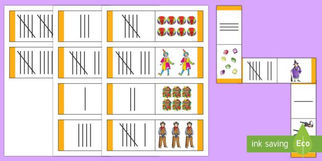 Fasching Zahlen und Strichlisten Domino Karten - Karneval, Fasching,Fastnacht,Domino Spiel, Zahlen 1 bis 10,Erstes Zählen, Strichlisten, Mathematik,