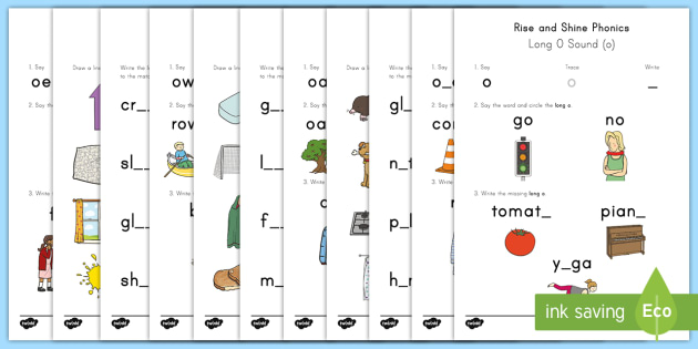Rise and Shine Phonics Long O Sound Morning Activity Sheets - long vowels, long o, morning work, phonics, worksheets
