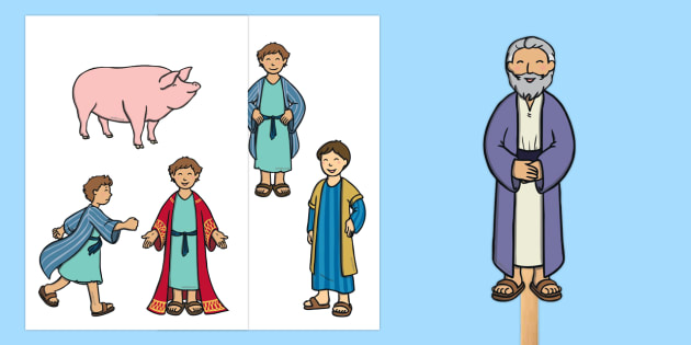 The Prodigal Son Stick Puppets - The Prodigal Son, son, father, prodigal, the lost son, lost, story, story book, story sequencing, story resources, stick puppet, coming back, father and son, jealous, pigs, inheritance, return, party, feast