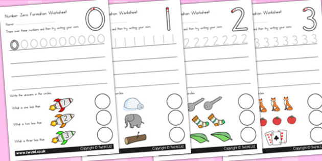 Number Formation Worksheets - number, formation, writing aid