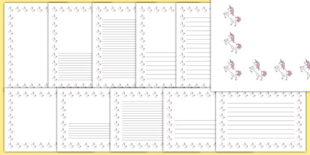 Unicorn Themed Page Borders - unicorn, page borders, fantasy, imagination, writing frames, horn, horse