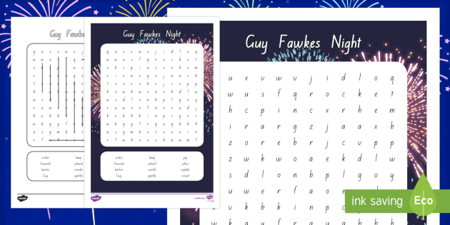 Guy Fawkes Night Word Search