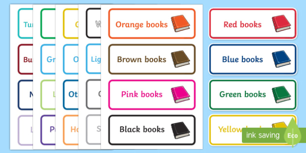 Book Shelf Coloured Labels - Book label, library, shelf,  editable label, subject labels, exercise book, workbook labels, textbook labels