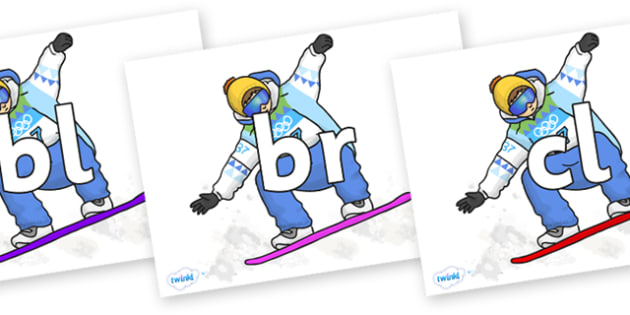 Initial Letter Blends on Snowboarding - Initial Letters, initial letter, letter blend, letter blends, consonant, consonants, digraph, trigraph, literacy, alphabet, letters, foundation stage literacy