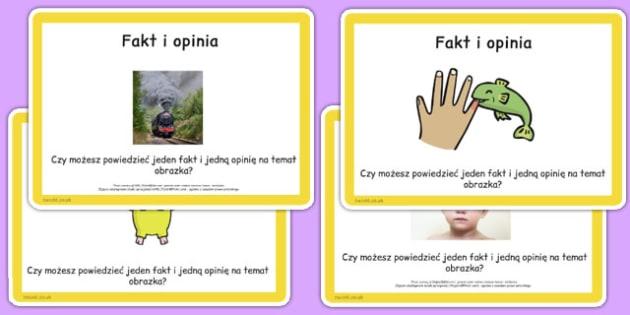 Karty do czytania ze zrozumieniem Fakt i opinia po polsku - lektury