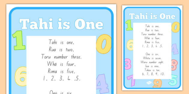 Tahi is One Song A4 Display Poster