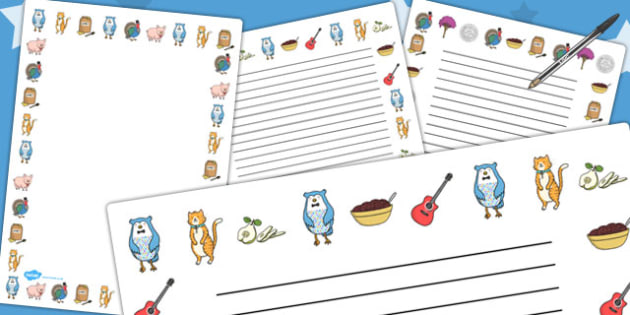 The Owl and The Pussycat Page Borders - writing aid, write, story