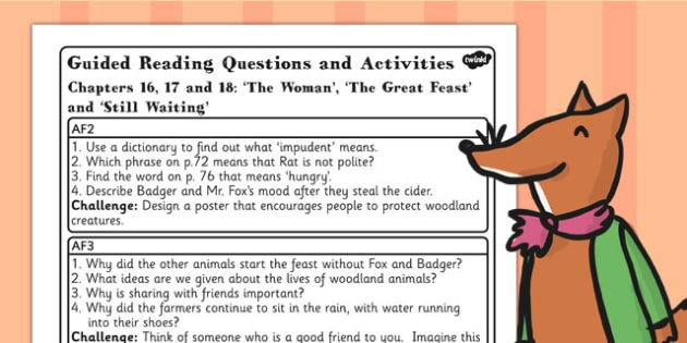 Guided Reading Questions Chapters 16 17 and 18 to Support Teaching on Fantastic Mr Fox