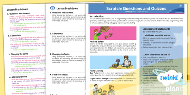 PlanIt - Computing Year 4 - Scratch Questions and Quizzes Planning Overview CfE - planit